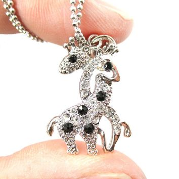 Giraffes with Necks Entwined Animal Shaped Pendant Necklace in Silver with Rhinestones