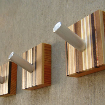 Modern wall hooks in wood and metal