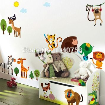 Jungle Adventure Animals Wall Stickers for Kids Nursery Rooms Baby Home Decoration Anime Poster Monkey Wall Decals Wallpaper kid