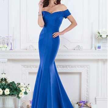 [113.99] Gorgeous Satin Off-the-shoulder Mermaid Evening Dresses With Beads - dressilyme.com