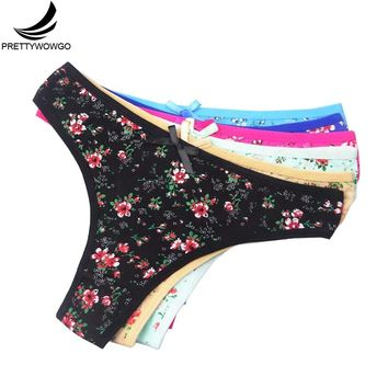 Prettywowgo 6 Pcs New Arrival 2018 Ladies Underwear Women Cotton Classical Floral Print Sexy G String Thong 7345