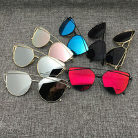 Women Mirror Sunglasses Cat Eye Aviator Sunglasses , Metal Frame +GIFT BOX
