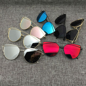 Mirror Sunglasses Cat Eye Aviator Sunglasses Women Metal Frame +GIFT BOX