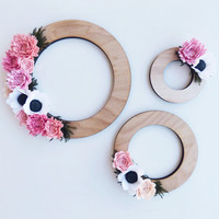 Felt and wood wreath trio