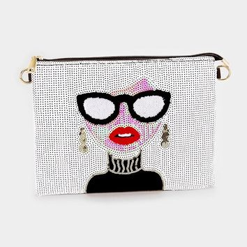 Sequin Dramatic Woman Face Clutch Bag