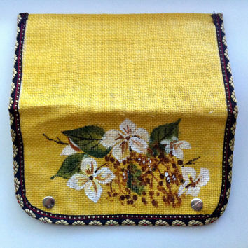 Painted Purse, Yellow Jute Purse, Burlap Clutch, White Hydrangeas, Wedding, Bridesmaid Gifts, Eco friendly, Eco Fashion, Boho, Small Wallet