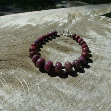 Bracelet Stone Beads Star Ruby Black Spinel Handmade Gemstone Red Black Kynd Vallley