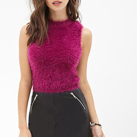 FOREVER 21 Fuzzy Knit Top Magenta