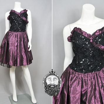 Vintage 80s Party Dress Punk Princess Taffeta Skirt Gothic Prom Dress Beaded Dress Purple and Black Ruched Goth Dress Strapless Sweetheart