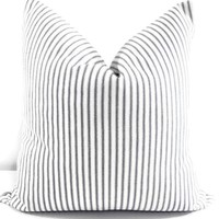 Navy Farmhouse Ticking Stripe Pillow Cover