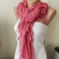 Pink Color Ruffle Scarf from 100 coton with pompom lace by Periay