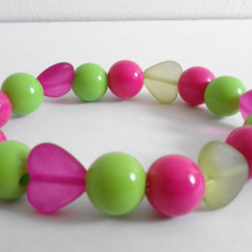 Pink and Green Acrylic Heart and Round Gumball Beaded Bracelet
