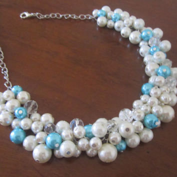 Turquoise Wedding Jewelry, Turquoise Necklace, Bib Necklace, Turquoise Bridesmaid Necklace, Cluster Necklace with Blue and Ivory Pearls