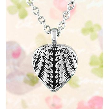 Heart-Shaped Angel Wing Urn Necklace - Stainless Steel