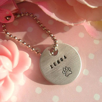 Personalized Hand Stamped Tag With Paw Print by Wonderfullmoments6