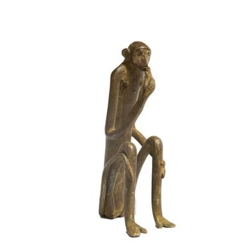 Large Seated Monkey with Single Handed Corn Vintage African Bronze Sculpture