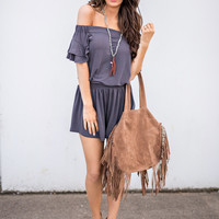 Beach Bonfire Off The Shoulder Cinched Waist Romper (Charcoal)