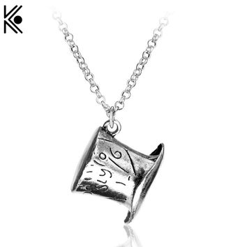 Classic Alice in Wonderland Mad Hatter Hat Pendant Necklace fashion chain link statement necklace Christmas gift for friends