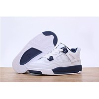 Kids Air Jordan 4 Sneaker Shoes - White/Navy