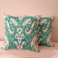 Decorative-Accent-Throw-Set of Two 20 inch Pillow Covers -Teal and Off White Ikat-Free Domestic Shipping