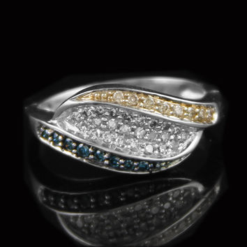 Ladies Three Row Bypass Design Cluster Ring