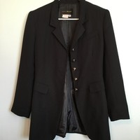 #Vintage black polyester blend riding style blazer. Very long, tailored ...