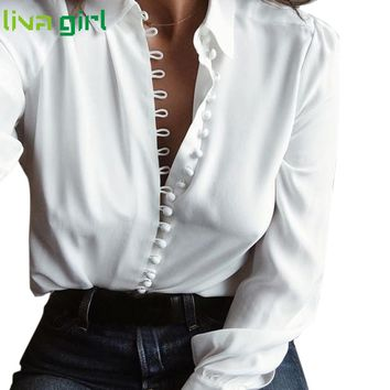 2017 Women New Hiking T-shirt Top Girls Ladies White Women Solid Long Sleeves Blouse Tops Femme Mujer Fitness Sexy Blouse Mar6YP