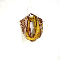 Yellow Silk Scarf Sari Silk Infinity Scarf Womens Scarf Fall Scarf Summer Scarf Lightweight Scarf Upcycled Scarf Eco Fashion Gift for Her
