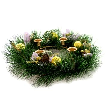 Christmas ADVENT WREATH W/PURPLE RIBBON Metal Religious Celebrate 21075