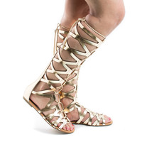 Ranger Gold Pu by Soda, Gold PU Knee High Open Toe Gladiator Cut Out Lace Up Flat Trendy Sandals