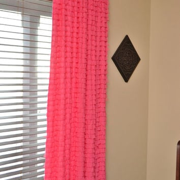 Ruffle Curtain Panel in Hot Pink, Drape 108 inches Tall by 44 inches Wide