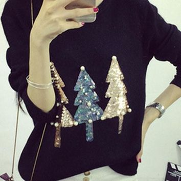 Black Sparkly Sequin Christmas Tree Print Beading Cute Slim Pullover Sweater Knit Jumper