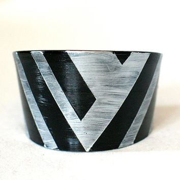 Bracelet  Recycled record Statement cuff handcut unique painted vinyl plastic black silver