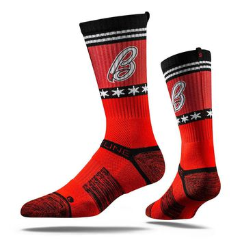 Strideline® 2.0 CHI HORNS Chicago Red–Black–White Crew Socks NEW