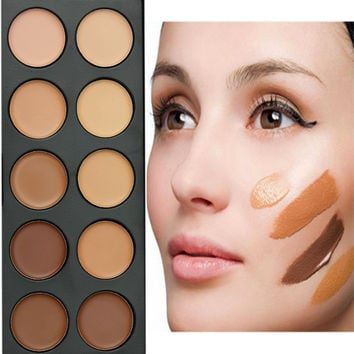 Hot  Pro Concealer Cream 10 Colors Makeup Paleta De Contorno Highlighter Dark Hide Dermacol Bronzer High Light Pallete Maquiagem