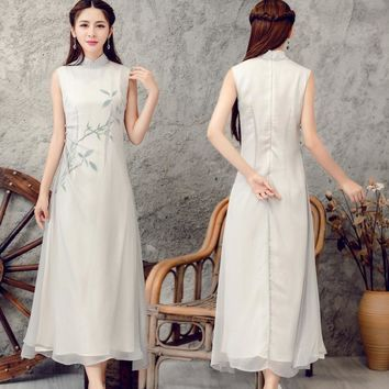 Summer Style Silk Chiffon Long Hand-painted Sleeveless dress