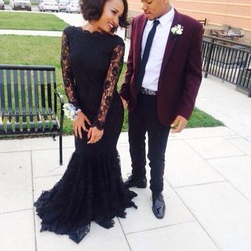 Prom  Dresses 2017 Black Mermaid Long Sleeves Long Lace Cheap Formal Evening Graduation Party Plus size Dress
