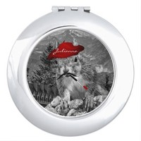 Squirrel Funny French Painter Custom Makeup Mirror
