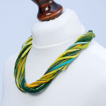 Linen twist multi strand yellow and green felt necklace [N51]