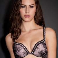 Embroidered Plunge Push-Up Bra