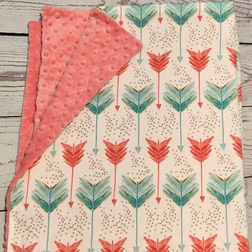 Personalized Baby Blanket,Arrow Print Minky Blanket,Baby Gift,Coral Teal Gold Print,Organic Cotton,Coral Minky dot,Baby Bedding,Handmade