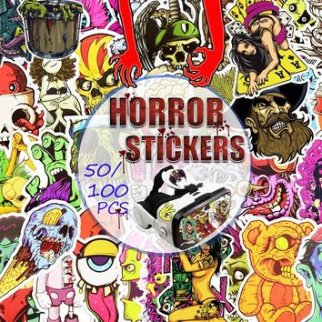 Punk Rock Horrible Zombies Skull Stickers Decals for DIY Helmet,Guitar,Water Bottle,Car,Motorcycle,Snowboard,Luggage,Laptop,Tabl
