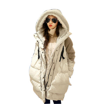 winter jacket women 2016 New Loose Thick Hooded Down Jacket and Long Sections Korean Wave down coat