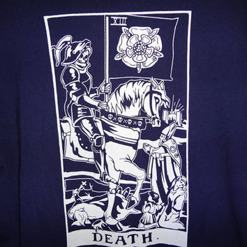 Vintage Death Tarot Card Shirt - Navy Blue - Large -