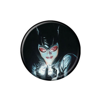Catwoman Holding Jewel Button