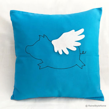 When Pig Flys. Hand Drawn Flying Pig Sky Blue Decorative Pillow Cover.Children Room Nursery Cute Cushion Cover. Baby Shower Gift