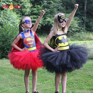 Batman Dark Knight gift Christmas Superman Batman Girls Tutu Dress with Mask Super Hero Inspired Baby Costume Kids Cosplay Christmas Halloween Tutu Dress AT_71_6