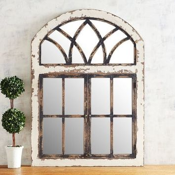 Black Distressed Garden Mirror