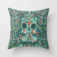 Calavera Cat Throw Pillow by Kostolom3000