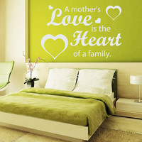 Hearts Wall Decals Quote a Mother's Love Is the Heart Of a Family Vinyl Decal Sticker Bedroom Interior Design Art Mural Nursery Decor MR337